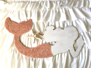 Mermaid Made of Wood With Pink Tail- Large