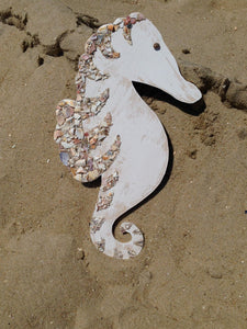 Seahorse Large Made of Wood and Shells