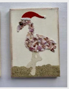 Flamingo Made of Shells & Sand Wearing Santa Hat
