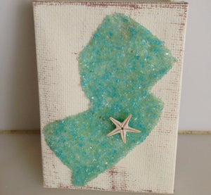 TJS1127--5x7 Jersey State on Canvas Green Crushed Glass