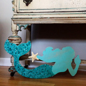 Mermaid Made of Wood With Aqua Body- Large