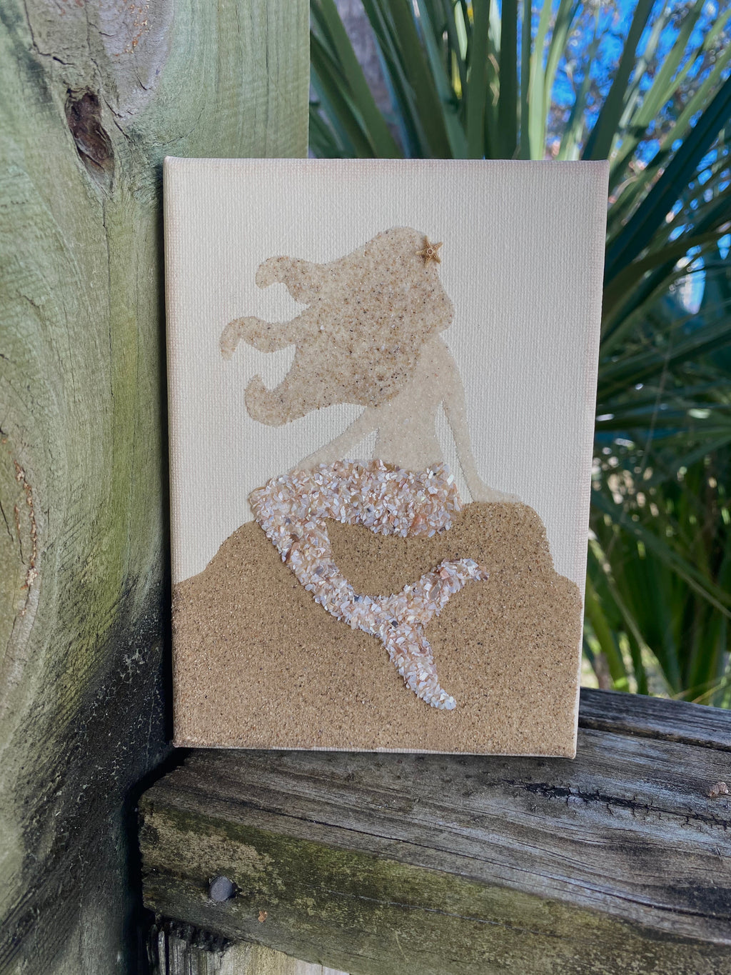 T2031 5x7 mermaid on rocks canvas