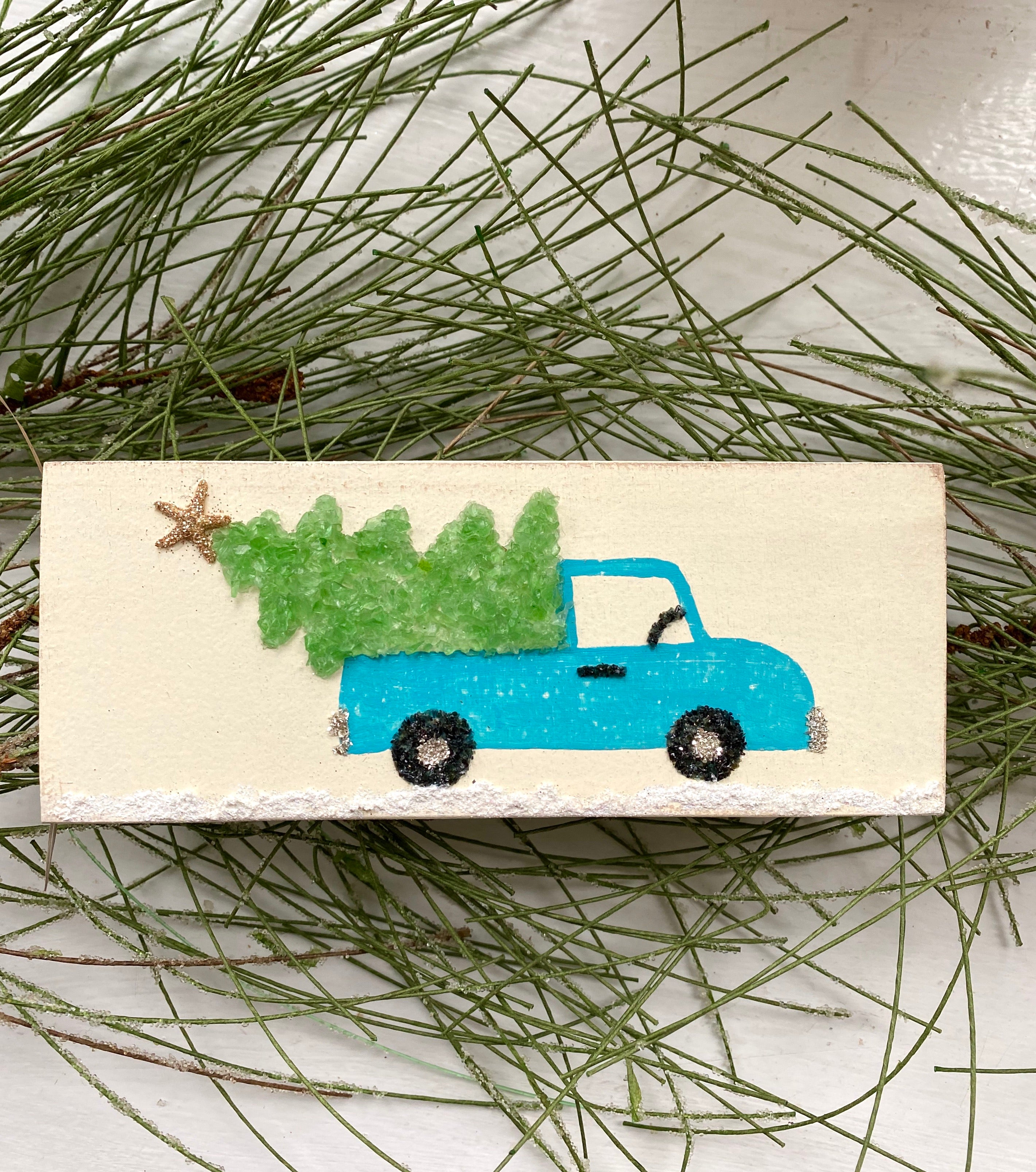 T1601 wood hanging aqua truck with tree