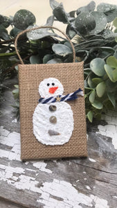 T1564 burlap canvas snowman ornament