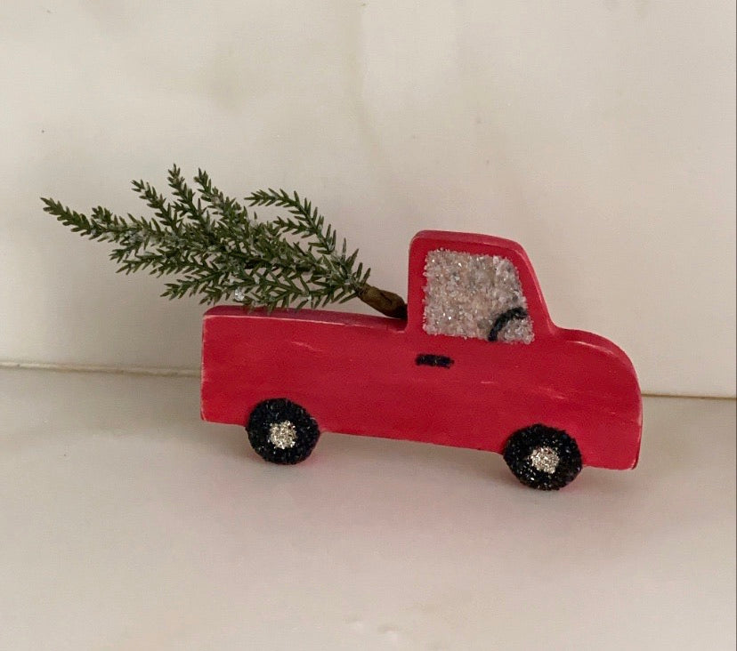 T1614  wood cut out red truck