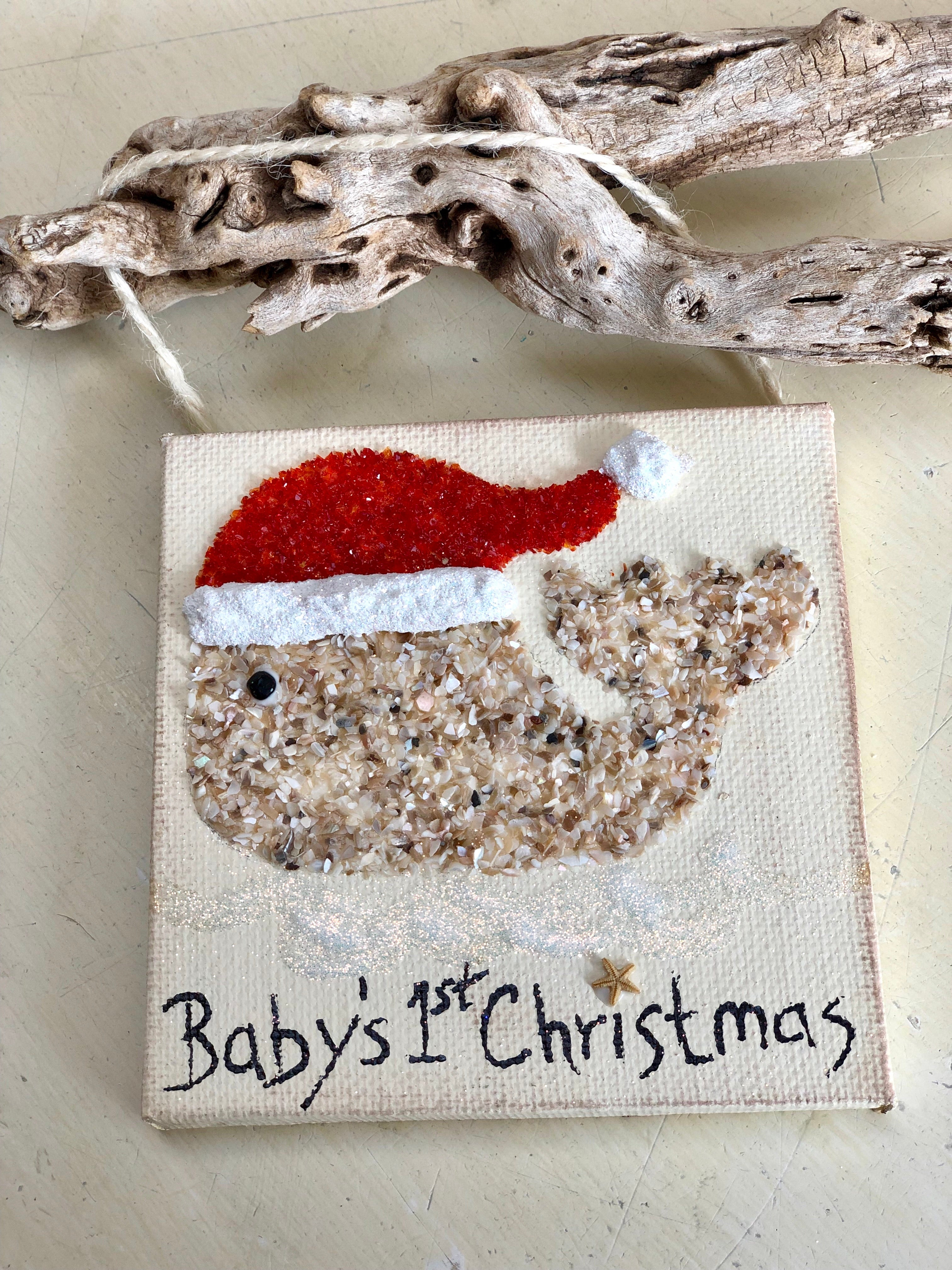 T1550 Santa hat whale baby's 1st Christmas