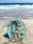 T1608 blue wood pumpkin with crushed shell starfish