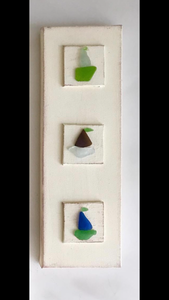 Sailboats made with Seaglass on Vertical Hanging Wood
