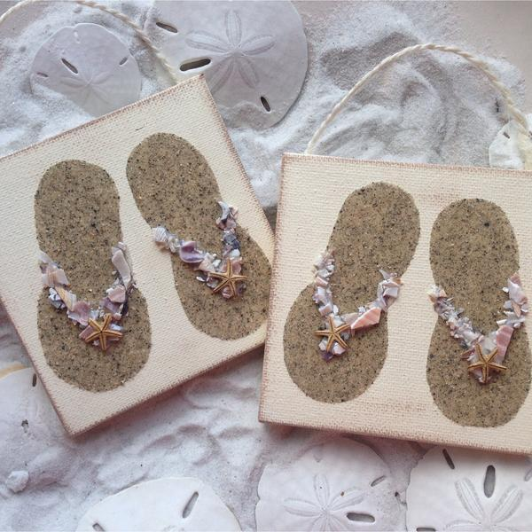 Flip Flop Pair Ornament made with Sand & Crushed Shells
