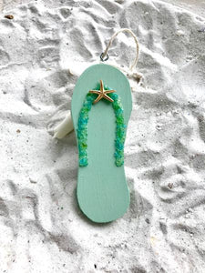Flip flop Made of Wood with Crushed Glass Ornament