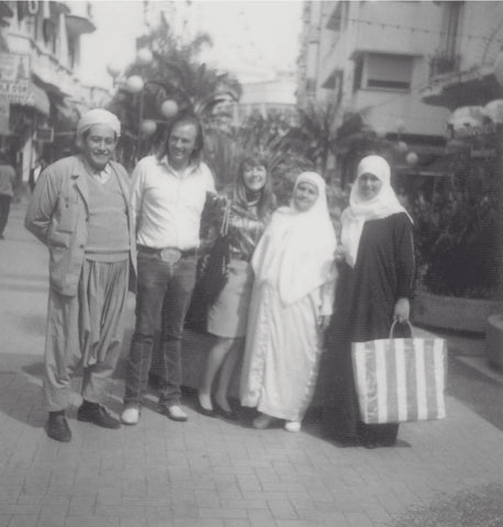 Bonnie and Dusty with a rug exporter and his family on a business trip to Morocco, 1991