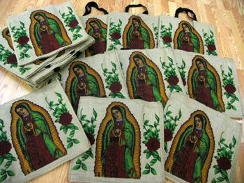 24 Piece Virgin Of Guadalupe Jute Shopping Bag ! WHOLESALE $3.50 ea!