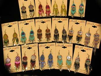 24 Pair Hand Painted Southwest Style Earrings, Wholesale $2.25 each pair!