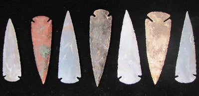 "Nice Hand-Chipped 5"" Spear Heads."