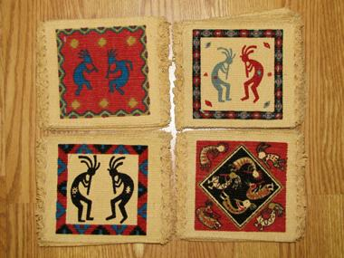 KOKOPELLI  COASTERS! 72 Cotton Stencil KOKOPELLI  Coasters! WHOLESALE $0.60 ea!