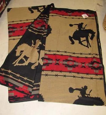 "NEW !  Bucking Horse 88"" x 96"" Queen Bedspread and Pillow Sham Combo !"