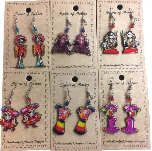 16 pairs of Folk Art Katrina Earrings ! Wholesale $2.75 each pair!
