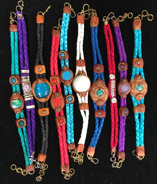 20 Traditional Leather Stone Bracelets!  WHOLESALE- $2.40 ea.!