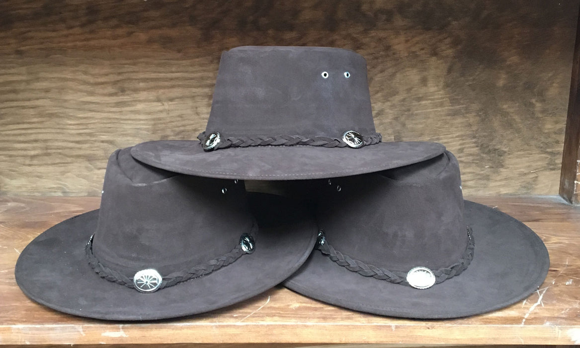 Genuine Suede Large Brown Hat with Conchos