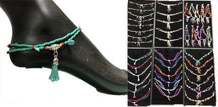 12- Beautiful Beaded Anklets! Wholesale Only $2.50