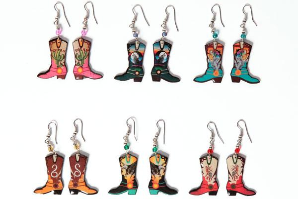 NEW ! 24 Handcrafted Western Boot Earrings ! Wholesale $2.50 each pair!