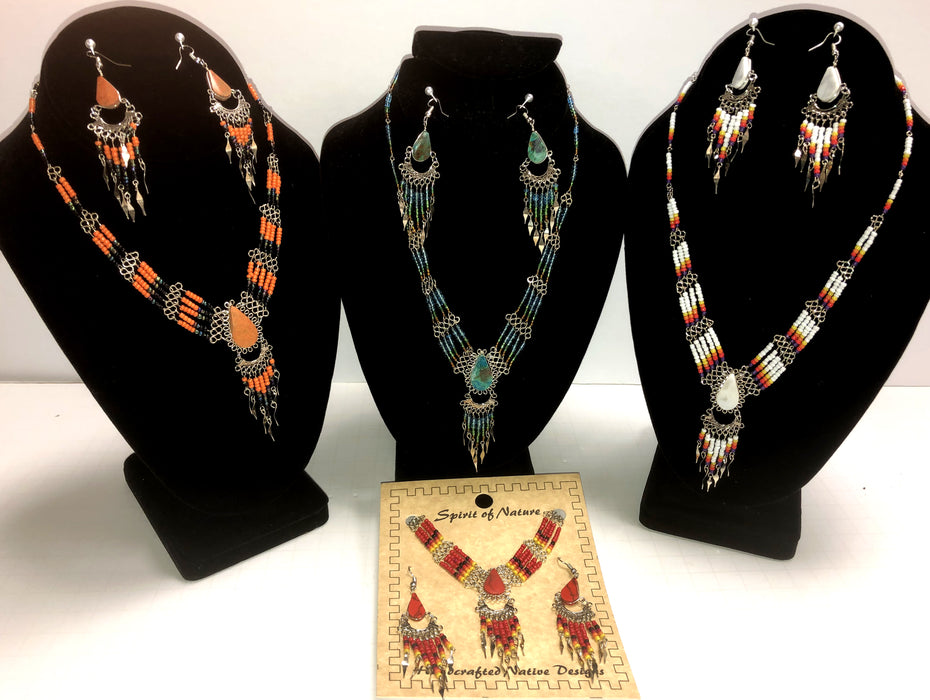 4- Handcrafted Beaded Necklace and Earrings Sets !  Wholesale $8.00 each set!