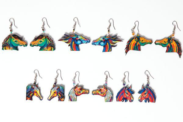 NEW!  24 Handcrafted Horse Earrings !  Wholesale $2.50 each pair!