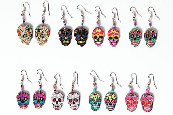24  Day of Dead Hand Crafted Skull Earrings!  Wholesale $2.25 each pair!