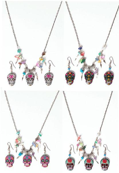 Handcrafted Skull Necklace and Earring Set