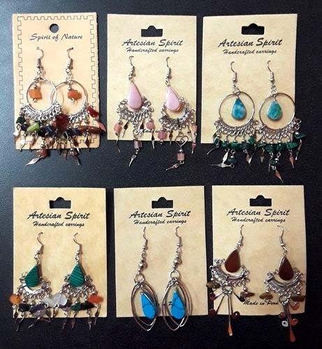 Closeout !  12 Beautiful Multi-Color Southwest Stone Earrings! Wholesale $3.25 ea!
