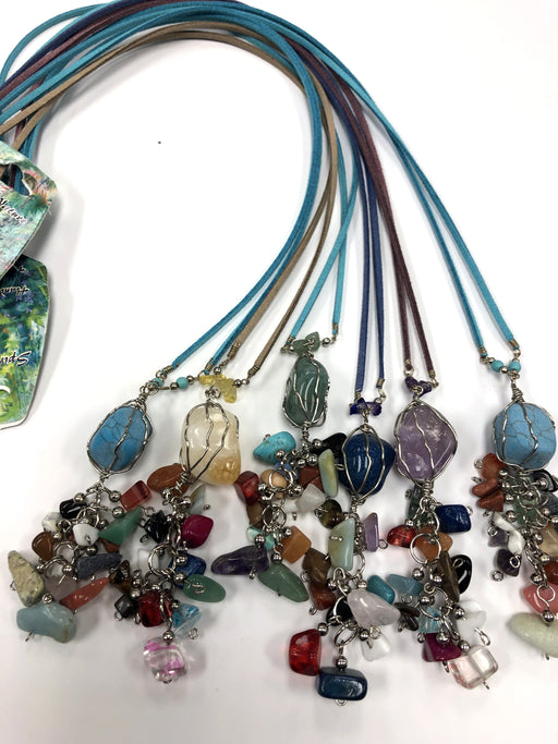 15 Beautiful Long Stone Necklaces with Stone Tassels ! Wholesale only $3 ea.!