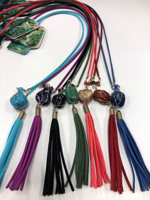 15 Stylish Long Stone Necklaces with Tassels ! Wholesale only $3  ea.!