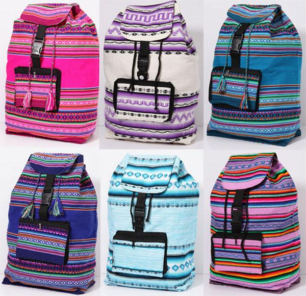 6- Authentic Peruvian Made Backpacks! Wholesale $14.50 each