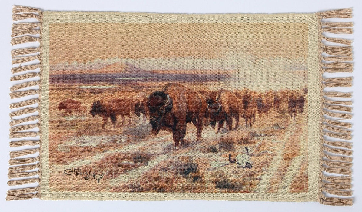 Digital Print Placemat, CM Russell Bison Trail design by El Paso Saddleblanket