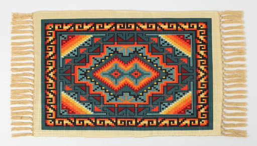 Southwest Digitally Printed Placemat in a teal Geometric Design from El Paso Saddleblanket