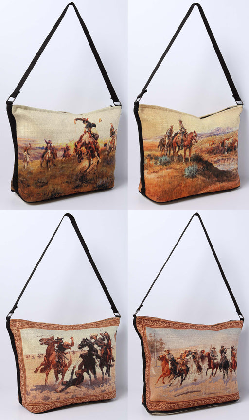 12 Pack Digital Print Purses, Wild West Design- Wholesale $5.00 ea.!