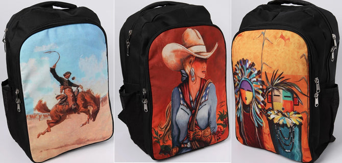 6 New Western/SouthWest Digital Back Packs !  Wholesale Only $16 ea.!