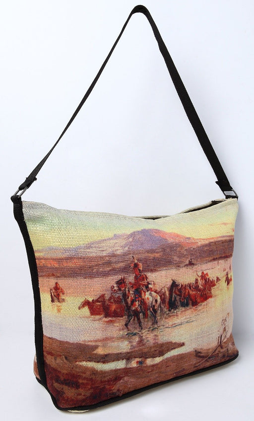 Digital Print Purse, CM Russell Fording the Horse Herd Design from El Paso Saddleblanket