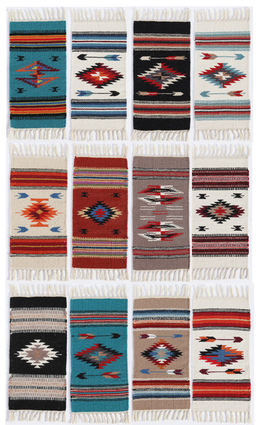"Handwoven Wool Chimayo Style Table Mats in size 10"" x 20"" from El Paso Saddleblanket"