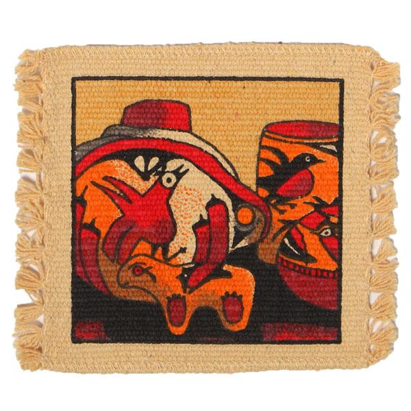 Cotton Stencil Coaster-Southwest Pottery Design