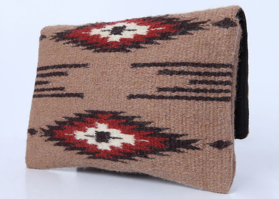 Southwest Wool Chimayo-Style Clutch Purse in design A, back side