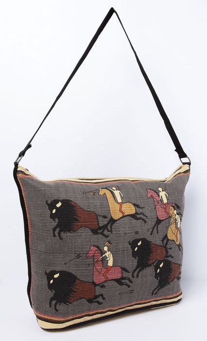 "13"" X 19"" Cotton Stencil Purse - Buffalo Hunt 306"