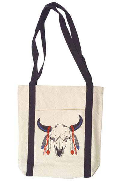 Feather Skull Canvas Tote Bag