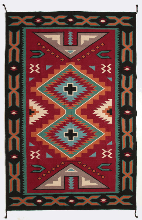 6x9  Wool Hand Woven Trading Post Rug !