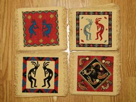 72 Prepack of 6x6 Kokopelli Design Coasters package