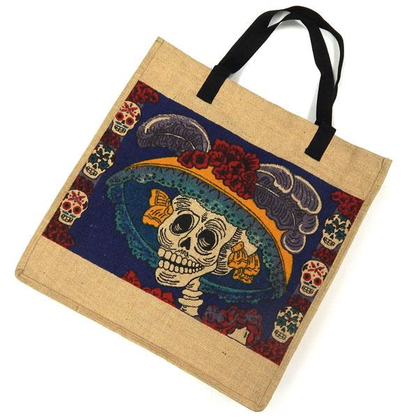 "Eco Friendly 18"" x 18"" Day of the Dead Jute Bag"