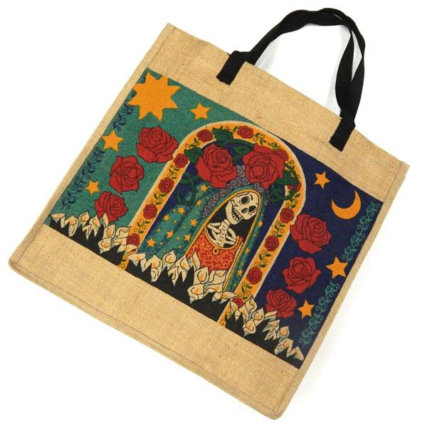 "Eco Friendly Day of Dead 18""x18"" Jute Bag"