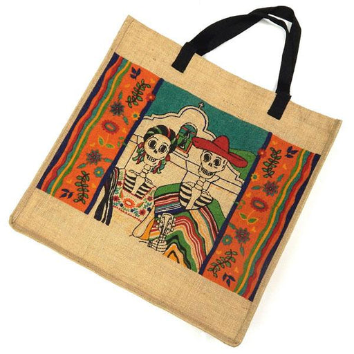"Eco Friendly Day of Dead 18"" x 18"" Jute Bag"
