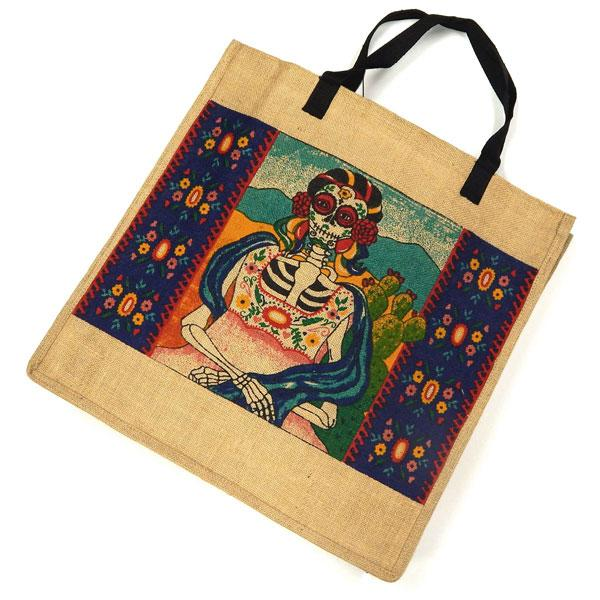 "Eco Friendly Day of Dead 18""x 18"" Jute Bag"