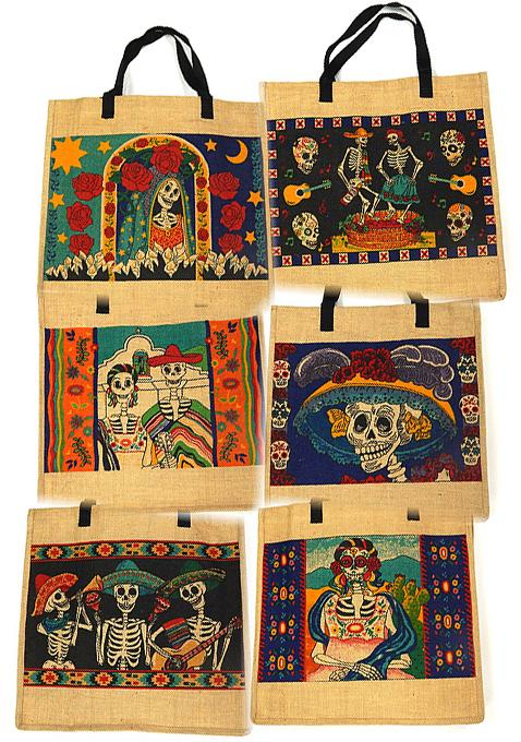 NEW ITEM! 18 Day of Dead Jute bags! WHOLESALE- $4 ea!